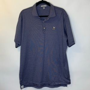 Peter Millar Blue Striped Button Polo Top Golf L